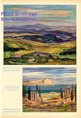 Landscape Germany & Greece XL 1942 page with 2 art prints by Heinz Waldmuller +