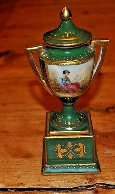 Antique Royal Vienna  Porcelain Covered Covered Urn Hand Painted and signed
