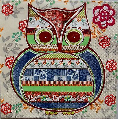Patterned Owl  -  5 Servietten - Maki