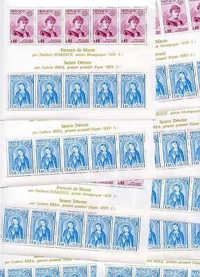 MONACO SC# 962a YV# BL10 LOT OF 9 SHEETLETS MINT NEVER HINGED