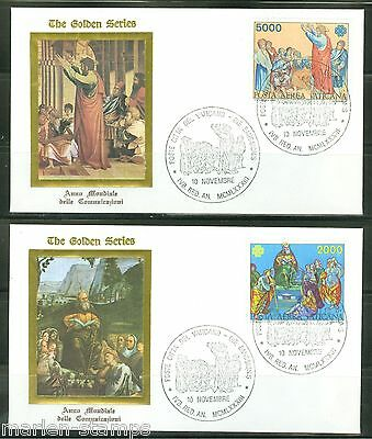 Vatican City Sc#c73/4 Communication Year Set Of 2 Golden Series First Day Covers