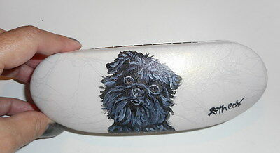 Affenpinscher dog Hand Painted Eyeglass case faux Leather