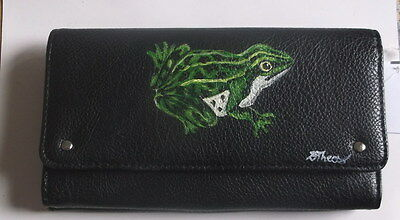 Green Leopard Frog Hand Painted Ladies Leather Wallet SALE
