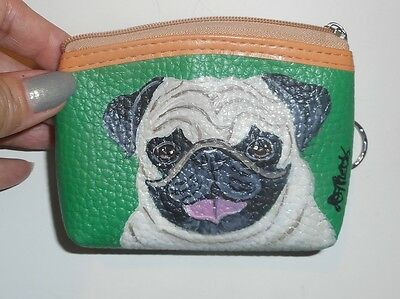 Fawn Pug Dog Hand Painted Leather Coin Purse Vegan Mini wallet