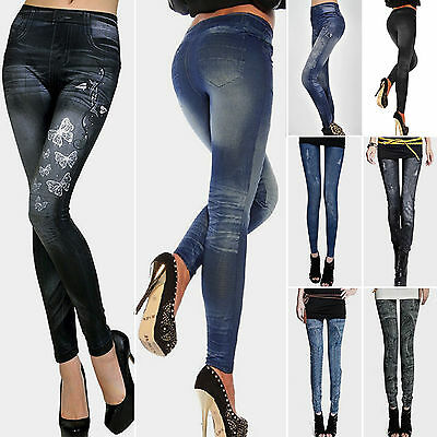 Womens Skinny Leggings Slim Denim Look Jeans Jeggings Stretchy Pants Full Length