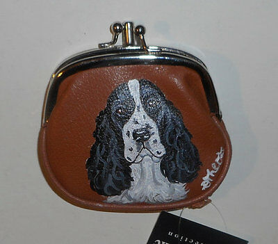 English Springer spaniel dog Hand Painted Leather Coin Purse Vegan