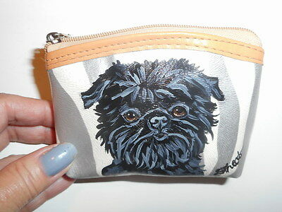 Affenpinscher dog Hand Painted Leather Coin Purse Vegan
