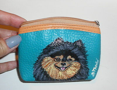 Black and Tan Pomeranian  Dog Hand Painted Leather Coin Purse Vegan