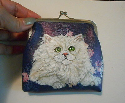 Persian Cat Hand Painted Leather Coin Purse Vegan Mini wallet Purse
