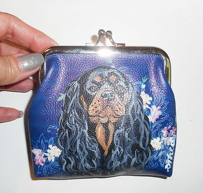 Cavalier King Charles Spaniel dog Hand Painted Leather Coin Purse Mini wallet