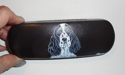 English Springer Spaniel Dog Hand Painted Eyeglass Case Simulated Leather