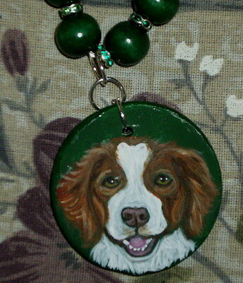 Brittany Spaniel dog Beaded Necklace Hand Painted Ceramic Pendant SALE