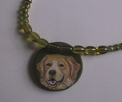 Golden Retriever dog Beaded Necklace Hand Painted Ceramic Pendant
