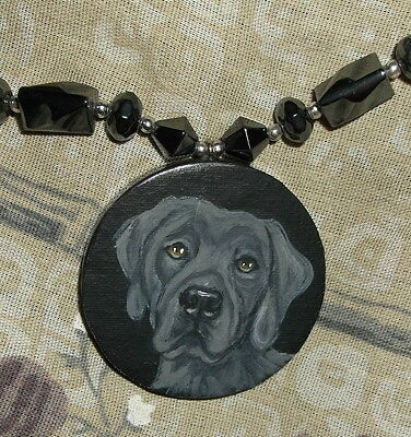 Weimaraner dog Beaded Necklace Hand Painted Pendant Reversible Lion backside