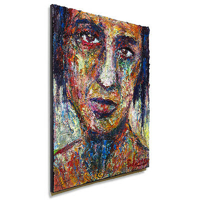 Original█Oil█Painting█Vintage█Outsider Art Realism Signed Abstract█On█Canvas█Pop