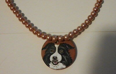 Border Collie Dog Beaded Necklace Hand Painted Ceramic Pendant