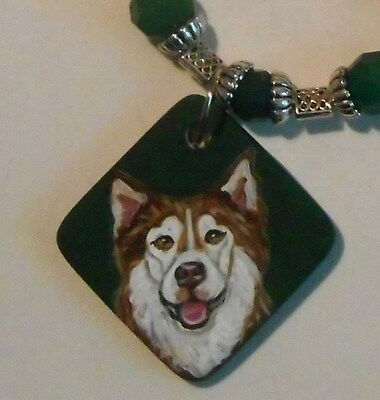 Red Siberian Husky  dog Beaded Necklace Hand Painted Pendant