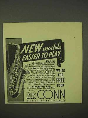 1936 Conn Saxophone Ad - Models Easier to Play