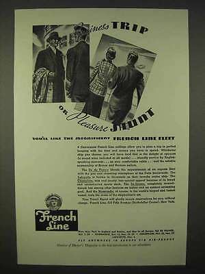 1937 French Line Cruise Ad - Business or Pleasure Shunt