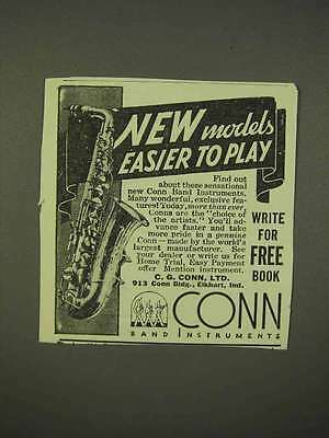 1938 Conn Saxophone Ad - Easier to Play