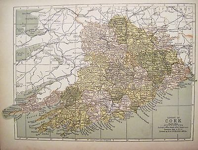 Irish Map County CORK Ireland Youghal Bantry Mallow Color PW Joyce 1905 9.5x7