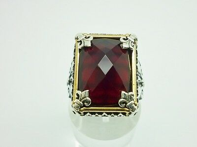 Superb Antique Style Sterling Silver & Ruby Chunky Ornate Mens Ring Size U 1/2