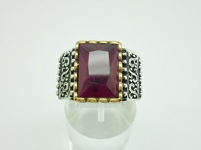 Superb Antique Style Sterling Silver & Ruby Chunky Ornate Mens Ring Size V 1/2