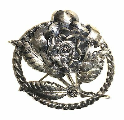 Vintage Peruzzi 800 Silver Italian Florence Floral Brooch