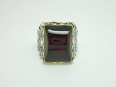 Superb Antique Style Sterling Silver Baltic Amber Chunky Ornate Mens Ring Size W
