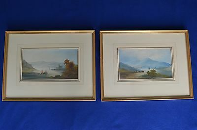 Antique Framed Pair of 19th Century Watercolours- Lake & Mountain Landscape