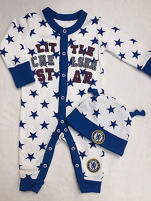 Chelsea FC Babygrow / Sleepsuit  and Hat Age 12-18 Months