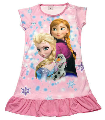 Disney Frozen Elsa & Anna Olaf Children Dress Girls Pajama Nightwear 3-10 Pink