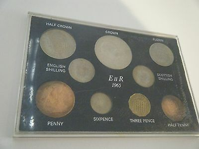 1965 9 Coin Circulated Set In Rigid Plastic Case Includes Churchill Crown.