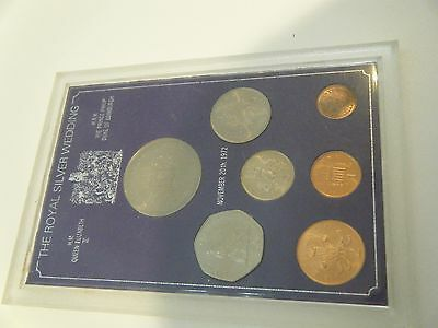 1977 Qeii Silver Jubilee 7 Coin Set In Rigid Plastic Case Includes Crown B Unc