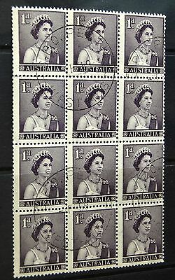 Australia 1959 1d  Definitive Stamp Block Of 16 Stamps VFU
