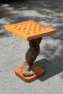 HAND MADE Vintage Antique OCCASIONAL Inlaid Wooden TABLE with CHESS BOARD Game