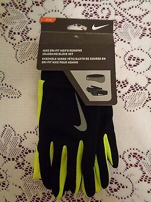 NEW Nike Dri-Fit Men's Black running Jogging Gloves and headband Set size M