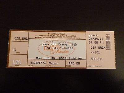 Counting Crows The Wallflowers 2013 Concert Ticket Stub Count Basie Theatre Nj