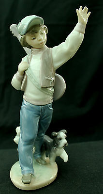 "Lladro Spanish Porcelain Figurine no. 6015 ""Wednesday's Child"" Boy, Guitar & Dog"