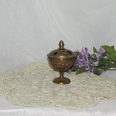 Vintage Brass Incense Burner Etched Painted Handmade Mid-Century India Retro