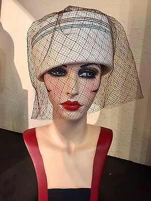 Stunning True Vintage Sixties Iconic Pillbox Hat With Net By Mitzi Lorenz
