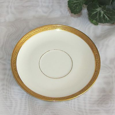 "LIMOGES B & C ORPHAN SAUCER GOLD SCROLL RIM FRANCE 5 5/8"" VINTAGE no cup GILT"