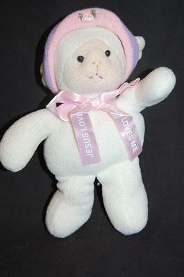 "Jesus Loves Me Ribbon Princess Soft Toys Knit Lamb 9"" Plush Stuffed Animal Lovey"