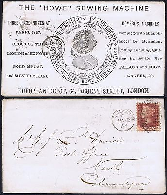 1868 1d Red Pl 110 ML on Howe Sewing Machine Advertising Envelope to Neath