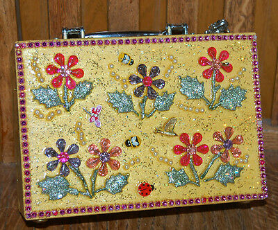 MOMMA'S BLOOMERS Wood Box Purse THAT'S CRAZY! Handbag Flower USA Butterfly Bee