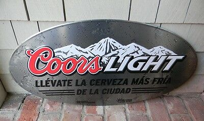 2009 New Old Stock Coors Light Spanish Cerveza Beer In Town Tin Sign Golden Co.