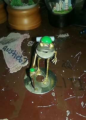Vintage metal art sculpture hiker frog figurine, Arthur W. Ward
