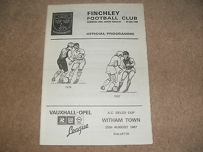 Finchley v Witham Town 25/8/87 AC Delco Cup