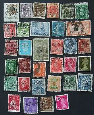 33 different perfin stamps from 17 countries Austria Belgium Canada Ceylon China