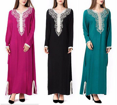 Moroccan Muslim Women Embroidery Kaftan Arab Summer Long Maxi Dress Abaya New